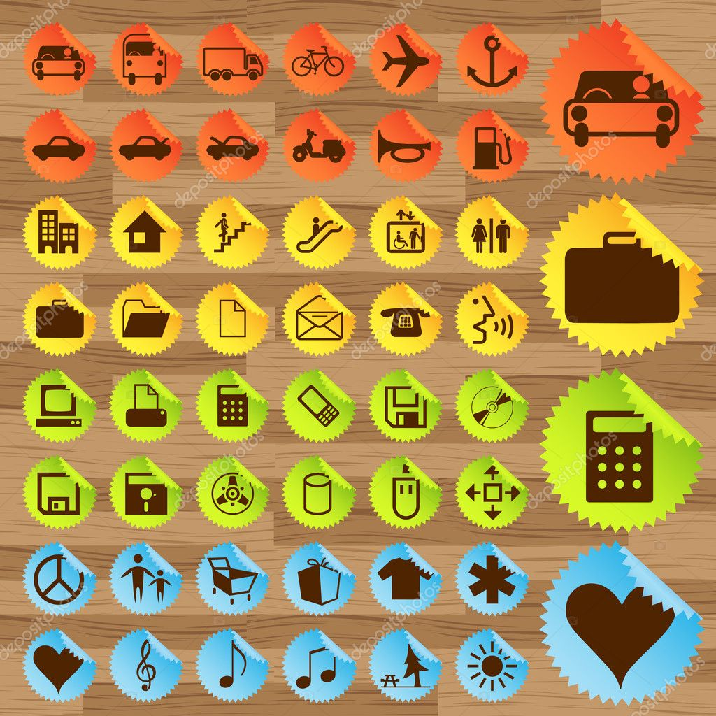 Business and transport icon set vector for poster — Stock Vector #3938204