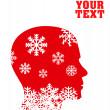 Head with snowflakes vector concept background - Stock Vector