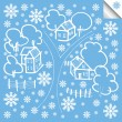 Vector winter house background - Stock Vector