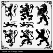 Silhouettes of heraldic lions vector background — Imagen vectorial