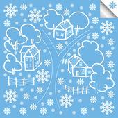 Vector winter house background — Stock Vector