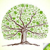 красочные дерево векторный фон — Cтоковый вектор