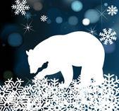 熊在冬天背景与雪花矢量 — 图库矢量图片