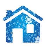 Vektorové zimní dům pozadí — Stock vektor