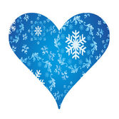 Winter heart of snowflakes vector background for poster — Vecteur