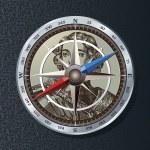 Silver metallic compass icon. Vector illustration. — Stock Vector #4041602