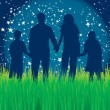 Stock Vector: Family walking in moonlight. Stars vector background.