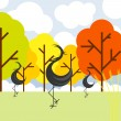 Vector autumn landscape with cranes birds and trees — Stockvektor