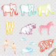 Royalty-Free Stock : Cute Safari Animal Set Vector Illustration