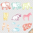 Royalty-Free Stock Vectorielle: Cute Safari Animal Set Vector Illustration