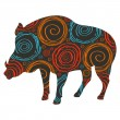 Royalty-Free Stock Vector Image: Wild boar vector background for Christmas or Thanks giving day isolated on
