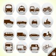 Glossy transportation icon set - Stock Vector