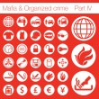 Organized crime icon set vector of 33 buttons - Vettoriali Stock 