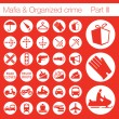 Organized crime icon set vector of 33 buttons — Imagen vectorial