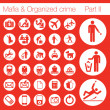 Organized crime icon set vector of 33 buttons - Stock Vector