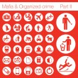 Organized crime icon set vector of 33 buttons — Vector de stock #4042611