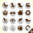 Ecology eco icon button set vector — Stock Vector #4042684
