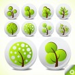 Stock Vector: trees eco button icon set vector