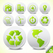 Ecology eco icon button set vector — 图库矢量图片
