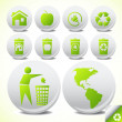Ecology eco icon button set vector — Stock Vector #4042697