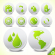 Ecology eco icon button set vector — Stockvectorbeeld
