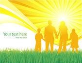 Famille marche vector background — Vecteur