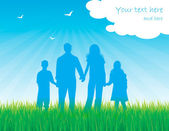 Silhouette family in sunny day vector background — Vecteur