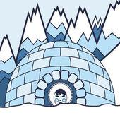 Eskimo and arctic landscape vector background — Stock Vector