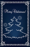 Blue christmas tree vector background made with diamonds — Stock Vector