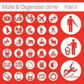 Organized crime icon set vector of 33 buttons — Stock Vector