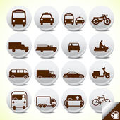 Glossy transportation icon set — Stok Vektör