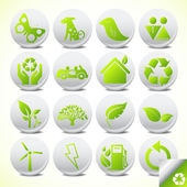 Botão de ícone eco ecologia defina vetor — Vetor de Stock