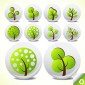 Trees eco button icon set vector — Stock Vector