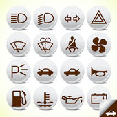 Car and accessories icon button set vector — Stok Vektör