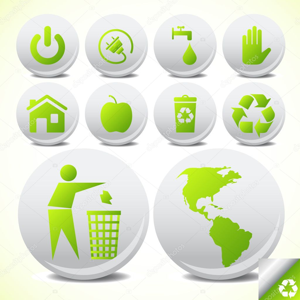 Ecology eco icon button set vector for poster — Stock Vector #4042704
