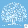 Snow tree vector background card - Stock Vector
