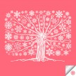 Stock Vector: Snow tree vector background card
