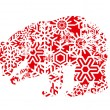 Bear colorful vector background made with snowflakes - Stock Vector