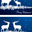 Deer Christmas vector background set of two cards — Stock Vector