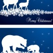 Deer and bear family Christmas vector background with snowflakes - Stock Vector