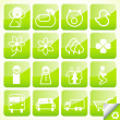 ecologie eco pictogram knop ingesteld vector — Stockvector