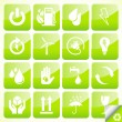 Ecology eco icon button set vector — Stockvektor