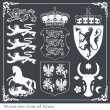 Stock Vector: Silhouettes of heraldic lions vector background