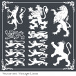 Royalty-Free Stock Векторное изображение: Silhouettes of heraldic lions vector background