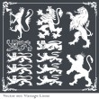 Silhouettes of heraldic lions vector background - Stock Vector