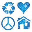 Symbols: recycle, heart, peace — Stock Vector