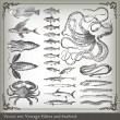 Vector set: fish background — ストックベクタ #4097008