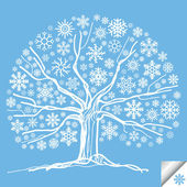 Snow tree vector background card — Stock Vector