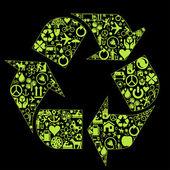 Vetor verde recicl o fundo do ícone com ícones — Vetorial Stock