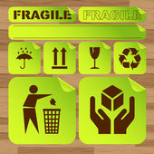 Safety fragile icon set vector — Stockvector